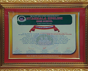 Letter of appreciation from Gyanmala English School